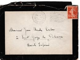 Paris XVI Place Chopin 1914 - Lettre De Deuil  Avec 7 Vagues - Postmark Collection (Covers)