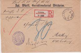 Württemberg Apt K1 Welzheim Früher R-Zettel RBf 1886 - Wuerttemberg