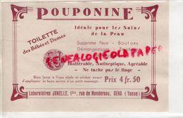 89- SENS-  RARE PUBLICITE POUPONINE  LABORATOIRES JANELLE- PHARMACIEN HOPITAUX PARIS- TOILETTE BEBE BEBES -1929 - Documents Historiques