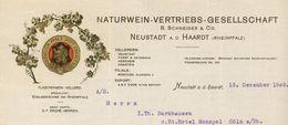 Allemagne - Neustadt A.D. Haardt - Entête Du 18 November 1909 - B.Schneider & Co. -Naturwein - Vertriebs - Gesellschaft. - 1900 – 1949