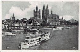 Alte Postkarte KÖLN - Mit Raddampfern Köln-Düsseldorfer - Dampfer