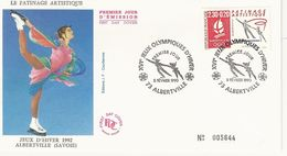 France FDC Enveloppe 1er Jour - Le Patinage Artistique - Jeux Hivers 1992 Albertville - 1990 - T. 2633 - N° 005644 - 1990-1999