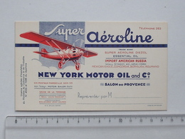 NEW YORK MOTOR OIL And Cie Super Aéroline: Carte De Visite Ancienne - Salon-de-Provence - Aviation Avion - Cartes De Visite