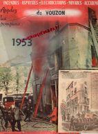 41- VOUZON- RARE CALENDRIER POMPIERS 1953- INCENDIE FEU- POMPIERS DE PARIS MAI- - Kalenders