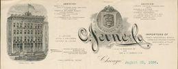Etats Unis - Entête De 1896 - Chicago : ILLINOIS. .Jevne & Co.Importers Of Fancy Groceries.Wines,Cordials,Havana Cigars. - United States