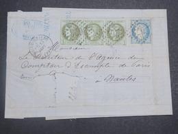 FRANCE - Lettre De Noirmoutiers Pour Nantes En 1871 , Affranchissement Restant Bande De 3 Bordeaux + 20c Cérès - L 14828 - 1849-1876: Classic Period