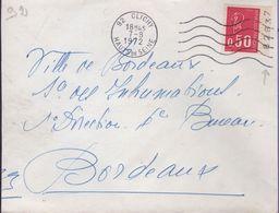 Lettre Avec Timbre 0,50 Béquet Rouge Sans Phosphore Carnet De 10 Avec Numero Sur La Bordure - Plaatfouten En Curiosa