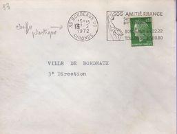 Lettre De 33 Bordeaux 03 Du I3-2 1972 Flamme O=, Le Chiffre I3 Du Jour Est Un Chiffre Plastique Des Timbres à Date - Variedades Y Curiosidades