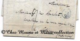 BILLOT POUR DE BARLET COUR ROYALE AIX 1828 - PARIS SISTERON - TAXE ET CAD BLEU - Marcophilie (Lettres)