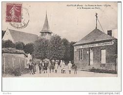 Claville-Le Bureau De Poste-L'Eglise Et Le Monument Aux Morts. - Autres Communes