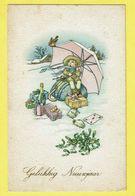 * Nieuwjaar - Bonne Année - New Year (Fantaisie - Fantasie) * (1542-9) Neige, Parapluie, Champagne, Enfant, Snow, Cadeau - Nouvel An