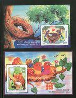 India 2017 Children's Day Paintings Nest Egg Birds Parrot Wildlife 2 M/s Set MNH - Parrots
