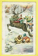 * Nieuwjaar - Bonne Année - New Year (Fantaisie - Fantasie) * Attelage, Snow, Neige, Enfants, Child, Deer, Cerf, Hert - Nouvel An