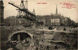 CPA TOUT PARIS 5e 791 Travaux Du Métropolitain Chantier De La Place St-Michel (478619) - Arrondissement: 05