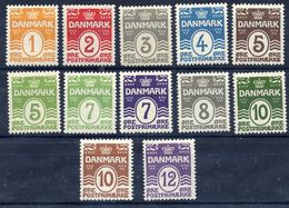 DENMARK 1913-30 Numeral Definitive Set Of 12  MNH / **.  SG 173-84, Michel 77-80, 118-20, 166-67, 182-84 - 1913-47 (Christian X)