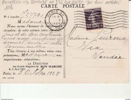 Philatelie-Semeuse No 236 Sur Carte Du Bon Marché.Maison Boucicaut.Paris. - Roulettes