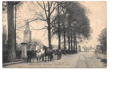 Sint-Joris-Winge, Inkom Van Het Dorp, Kar Met Twee Paarden, Tramsporen, Postzegel 1926, Door Kasteelbewoonster Verstuurd - Tielt-Winge
