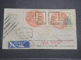 BRÉSIL - Enveloppe De Sao Paulo Pour Rio De Janeiro En 1940 Par Avion , Obli Télégraphique , étiquette Au Verso- L 14852 - Brazil