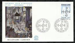 AVENEMENT D'HUGUES CAPET . MILLENAIRE CAPETIEN . 20 JUIN 1987 . NOYON . - 1980-1989