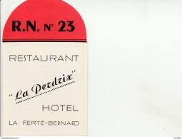 "Carte De Visite-Restaurant """"La Perdrix"""".La Ferté Bernard. - Cartes De Visite"