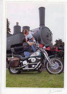 Harley Davidson  -  Locomotive à Vapeur   -  Saladini Photocarte  -  CPM - Motos