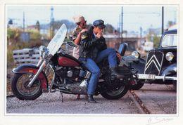 Harley Davidson  -  Citroen Traction Avant   -  Saladini Photocarte  -  CPM - Voitures De Tourisme