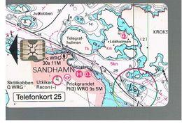 SVEZIA (SWEDEN) - TELIA  (CHIP) -  1993     MAP  - USED - RIF. 10024 - Sweden