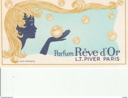 Parfum Reve D'Or-LT Piver Paris-Pub Au Dos Coiffure Claude.Le Mans. - Cartes Parfumées