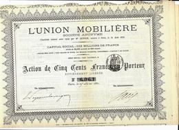 VOIR HISTORIQUE L' UNION MOBILIERE 1881 PLACEMENTS  FINANCIERS VOIR COTATION - Bank & Insurance