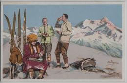 Carlo Pellegrini - Skiläufer In Den Bergen Bei Einer Stärkung Skiing - M 12 - Otros Ilustradores