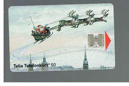 SVEZIA (SWEDEN) - TELIA  (CHIP) -  1993    SANTA KLAUS IN SLEDGE  - USED - RIF. 10027 - Sweden