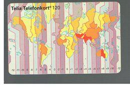 SVEZIA (SWEDEN) - TELIA  (CHIP) -  1994   WORLD MAP        - USED - RIF. 10036 - Sweden