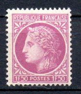 """CERES DE MAZELIN"" -  1, 50F Lilas - N° 679** - 1945-47 Cérès De Mazelin"