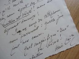 Henri CAIN (1857-1937) Librettiste. AUTOGRAPHE [ Ami Jules MASSENET ] - Autogramme & Autographen