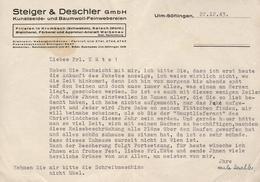 STEIGER & DESCHLER Gmbh - CORRESPONDANCE DU 22.12.143 - Alte Papiere