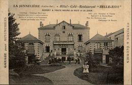 44 - NANTES - La Jonnelière - Erdre - Hotel Café Restaurant Belle-Rive -  Carte Pub - Nantes
