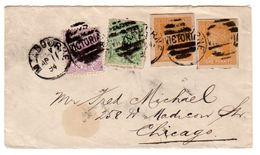 Victoria Australia 1894 Cover Scott 147 And 148 With Two 1p Card Cutouts To Chicago, ILL, USA. - 1850-1912 Victoria