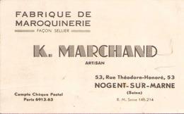 Carte De Visite Publicitaire K. Marchand Fabrique De Maroquinerie à Nogent-sur-Marne ( Pliures écritures ) - Publicités