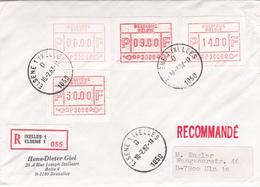 Enveloppe Avec Vignettes D'affranchissement De La Poste Valeurs Elevées - P3006 - Recommandé (griffe + Timbre) - 1982 - Postage Labels