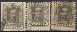 Tres Sellos 30 Cts Alfonso XIII Vaquer, Variedad Color,  Edifil Num 318-a-b º - 1889-1931 Reino: Alfonso XIII