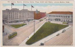 Cpa,boston,massachussets, Usa,copley  Square ,showing Copley Plaza Hoteland Public Library,pub By M Abrams,roxbury ,mass - Boston