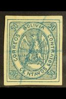 1867-68 50c Blue Condor (Scott 6, SG 11), Fine Used With Pen Cancel, Four Large Margins, Expertized A.Roig. For More Ima - Bolivia