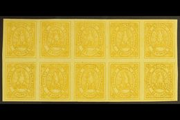 1867-68 50c Yellow Condor (SG 8, Scott 5), Very Fine Mint (most Stamps Never Hinged) BLOCK Of 10 (5x2), All Stamps With  - Bolivia