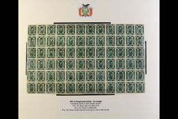 1867-68 5c Dark Bottle Green Condor COMPLETE MINT SHEET Of The 4th Re-engraved Plate Of The 1st Stage, Lovely Fresh Cond - Bolivia