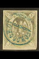 "1867-68 5c Violet Condor (Scott 3, SG 10b), Fine Used With Nice Circular ""Corocoro"" Postmark In Blue, Four Large Margins - Bolivia"