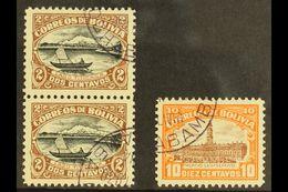 1916-17 PERFORATED COLOUR PROOFS. 2c Brown & Black Lake Titicaca Vertical Pair (Scott 113) And 10c Brown & Orange Parlia - Bolivia