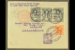 1932 1st SOUTH AMERICA - EUROPE ZEPPELIN FLIGHT, Cover To UK Franked Selection Of Bolivian Stamps Tied By La Paz Cds Can - Bolivia