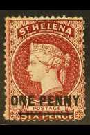 1864-80 1d Lake (Type B), Perf 14 X 14½, SG 21, Fine Mint. For More Images, Please Visit Http://www.sandafayre.com/itemd - Saint Helena Island