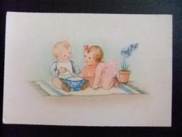 TARJETAS DE FELICIDADES Nenes Comiendo1955 - Cumpleaños