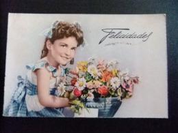 TARJETAS DE FELICIDADES  --  NIÑA CON FLORES 1954 - Cumpleaños